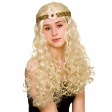 Adult Ladies Blonde 60s 70s Flower Power Hippie Hippy Wig Fancy Dress Accessory