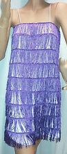 Women's Purple 1920's Deluxe Flapper 9 Tiered Fringe Costume Dress Beaded Straps