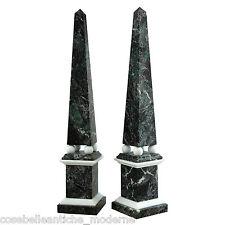 Obelisk Weißer Marmor Carrara Grünen Alpen mit Kugeln ITALIEN H.48 cm