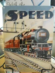 """Small Metal Wall Hanging Plaque Sign """"Speed"""" Railway Trains 15x20cms"""