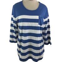Coral Bay knit top size L large blue white stripe 1 pocket 3/4 sleeve