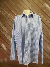 J.Crew Shirt in Bright Blue & White Striped, Large Men's Long Sleeved