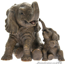 More details for large 22cm sitting mother & calf ornament figurine leonardo elephant lover gift