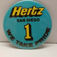 VTG Hertz San Diego 1 We Take Pride Pin Back Button Car Rental Company Advertis