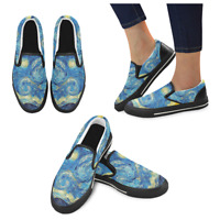 New Starry Night Vincent Van Gogh Art Slip on Canvas Women's Shoes US Size 6-12