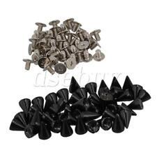 50pcs Black Metal Cone Screw Metal Studs Leather Craft Rivet Pyramid Spikes