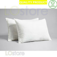 2X Pillow Luxury Goose Feather in 100% Cotton Cover Hotel Quality Pillows Pair