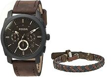 Fossil Mens Fs5251Set Machine Chronograph Dark Brown Leather Watch And New