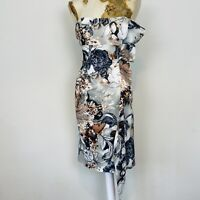 Karen Millen Dress 12 Strapless Pencil Fitted Wiggle Frill Satin Occasion Floral