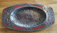 Antique Arts And Crafts Movement enamel pewter tray dish