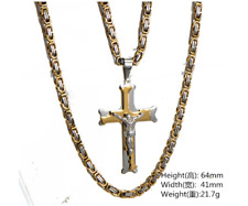 Men stainless steel Gold Silver crucifix  Jesus Christ cross pendant  necklace