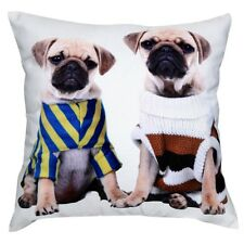 """Two Pug Dogs Sweaters Print Cotton 18"""" X 18"""" Cushion Cover Pillow Sofa Bed"""