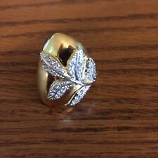 Sterling Silver gold plated CZ Leaf ring Size 9.25  NEW
