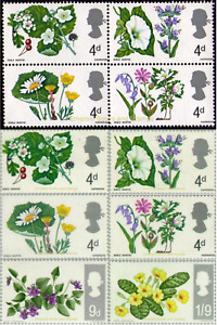 EBS Great Britain 1967 - British Wild Flowers - SET & se-tenant SG 717-722 MNH**