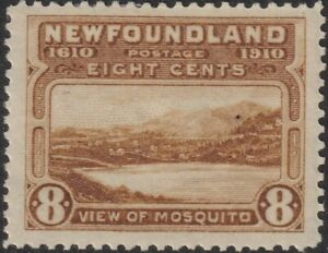 """Sc# 99 Newfoundland 1911 """"View of Mosquito"""" 8¢ issue perf 14 MMH CV $75.00"""