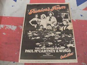 "PAUL McCARTNEY WINGS APPLE ""Juniors Farm"" In COLOUR 1979 Original ADVERT/POSTER"