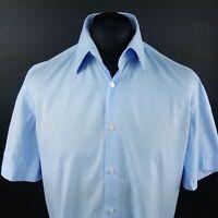 HUGO BOSS Mens Shirt 42 16.5 (LARGE) Short Sleeve Blue Regular Fit Check Cotton