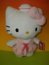 "Sanrio Hello Kitty Plush 7"" Wearing  Pink Sailor Dress Bow 2012 NWT"