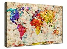 Quadro Moderno cm 100x70 stampa su tela Canvas Quadri Moderni Cartina Mappamondo