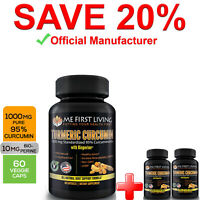 3 Bottles - Me First Living Turmeric Extract 95% Curcuminoids 1000mg + Bioperine