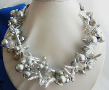 2Strands 18'' 14mm Shell Pearl Gray Baroque Freshwater Pearl Crystal Necklace