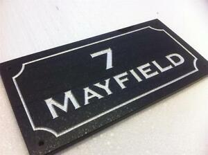 "Black Granite House Sign/plaque 12""/8"""