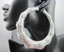 HOT!Bling Basketball Wives Inspired Clear Rhinestone Bamboo Joint Hoop Earrings