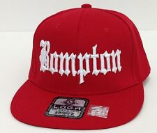 BOMPTON COMPTON 3D EMBROIDERED FLAT BILL SNAPBACK BASEBALL CAP HAT RED