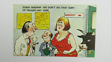 1960s Risque Funny Postcard Doctor Heart Transplant Surgeon Cardiologist Bull