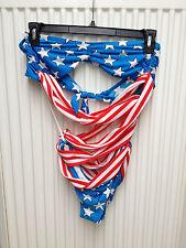 Jeremy Scott for Adidas Stars & Stripes Woman's Swim Suit Size Large