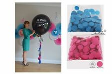 Gender Reveal Balloon Circle Round Confetti Tail Tassel Baby Shower Boy or girl