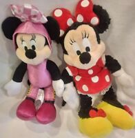 "Disney 2 Minnie Mouse Plush Stuffed Lot Dolls 9"" Disneyland Ships Free!"