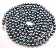 8mm Black South Sea Peacock Shell Pearl Necklace 80'' JN1678