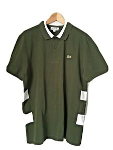 LACOSTE Regular Fit In Men's Green  / White Size XL Polo T Shirt