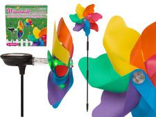 Energía Solar LED Luz Molino de viento Spinner Colorido Decoración de jardín en palo