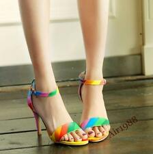 Womens Ladies Rainbow High Heels Summer Sandals Pumps Ankle Strap Shoes UK Size