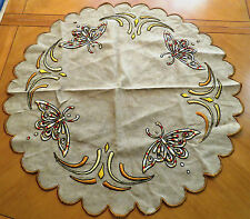 Antique Tablecloth Embroidered Table Cloth Cover Round Centerpiece Arts & Crafts