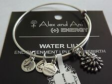 Alex and Ani WATER LILY Charm Bangle Bracelet BOX R SILVER New/Tags RETIRED NWT