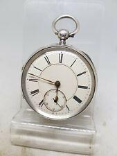 Antique solid silver gents fusee Birmingham pocket watch working 1885 ref1118