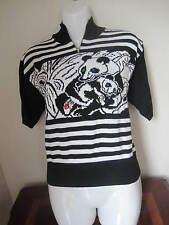 NWT Women's Top Sweater Shirt Black With Animal Panda Design Size M Made in USA