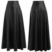 Women's Genuine Lambskin Pure Real Leather Long Skirt Classic Flare Black Skirt