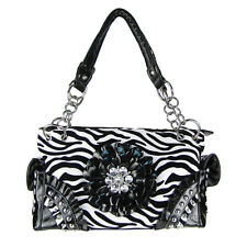 BLACK ZEBRA RHINESTONE FLOWER SHOULDER HANDBAG COUNTRY WESTERN CONCEALED CARRY