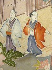 "Purple-Gray Silk ""Iro-Tomesode Kimono"" w/SAMURAI EDO Scenery J819"