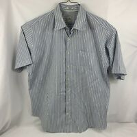 Peter Millar Mens XL Button Up Striped Long Sleeve Shirt Blue Green 100% Cotton