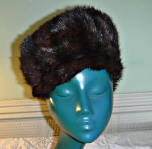 COSY VINTAGE 40S/50S PEAKED CAP HAT REDDY BROWN STRIPED REAL FUR 300 REGD NO.