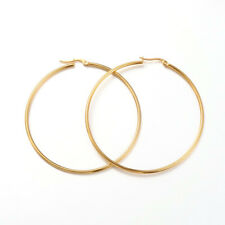 "12PC Gold Tone 304 Stainless Steel Hoop Earring Findings Big Ring Craft 2.6"" DIA"