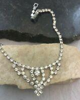 Vintage Art Deco Sparkle Clear Crystal Rhinestone Statement Evening Necklace
