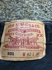 Used Levis 501 Button Fly Jeans 42 x 30 Slightly Distressed