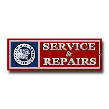 Indian Motorrad Service & Reparatur Metall SIGN.30.5cm X 10.2cm Klassisch M/
