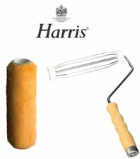 HARRIS VANQUISH QUALITY WOODEN ROLLER AND SHEEPSKIN SLEEVE FOR EMULSION PAINT